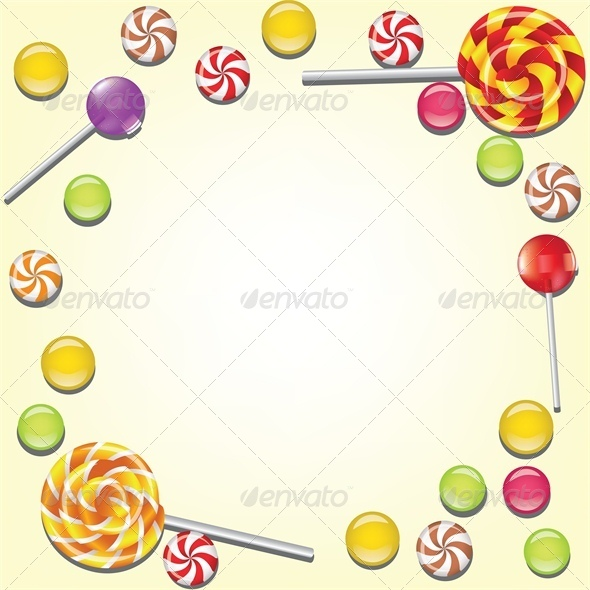 Background with Candies Frame - Food Objects