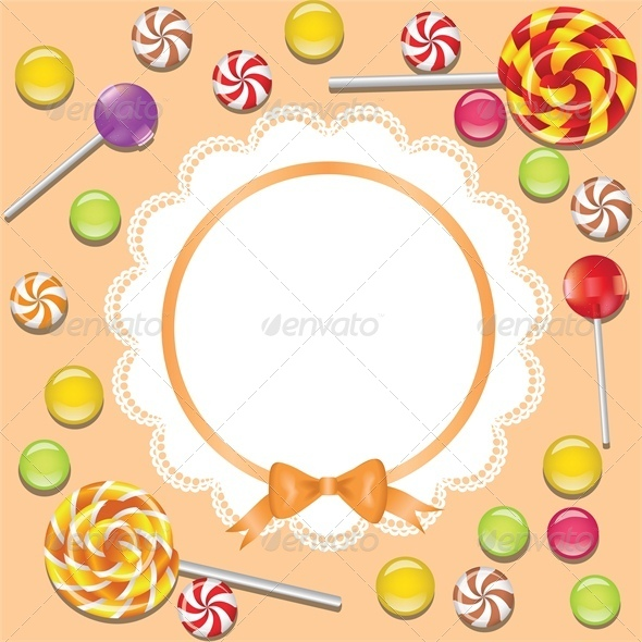 Background Candies Frame with Napkin and Ribbon - Food Objects