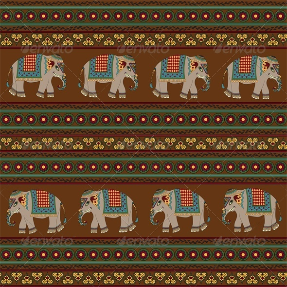 Seamless Indian Pattern with Elephant - Animals Characters