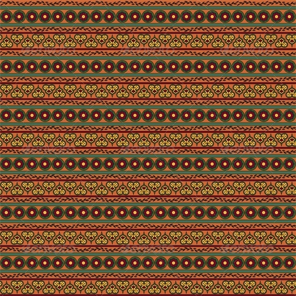 Ethnic Seamless Floral Pattern. Striped Background - Patterns Decorative
