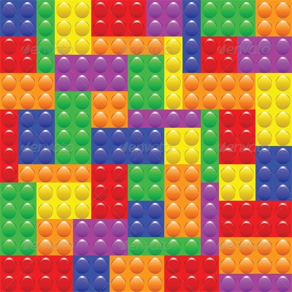 Seamless Background with Lego Block Construction - Backgrounds Decorative