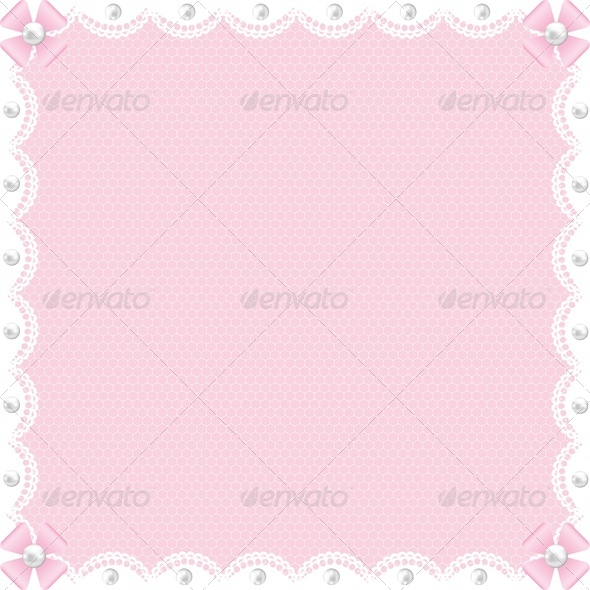 Wedding Card with White Lace and Pearls on Pink  - Weddings Seasons/Holidays