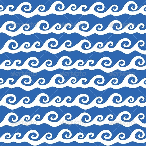 Seamless Background with Ocean Waves - Patterns Decorative