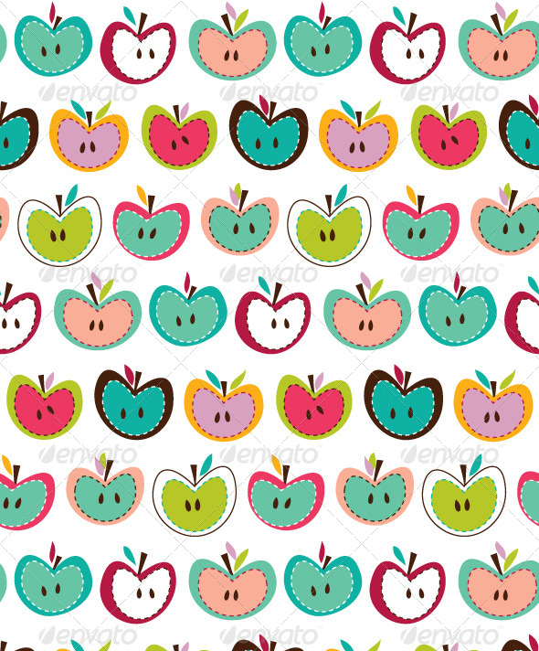 Seamless Apple Pattern - Backgrounds Decorative