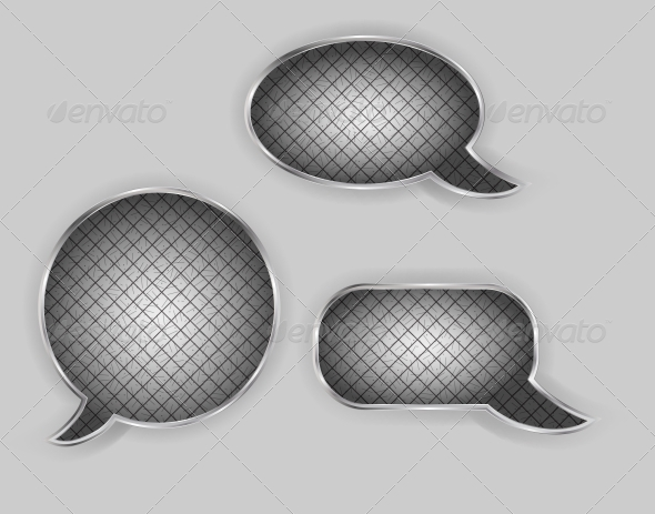 Metal Speech Bubbles Vector Illustration - Web Technology