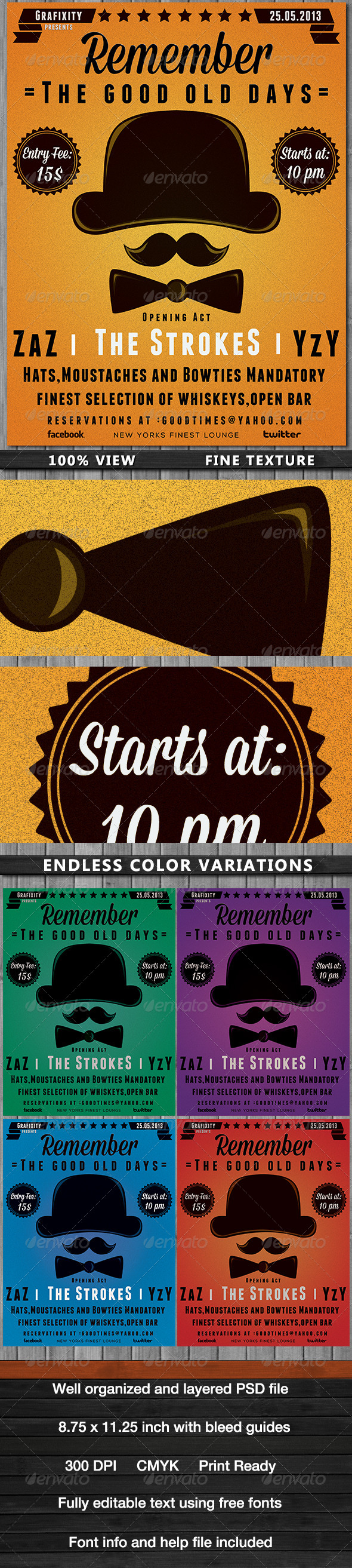 The Good Days  Vintage-Retro Poster  - Flyers Print Templates