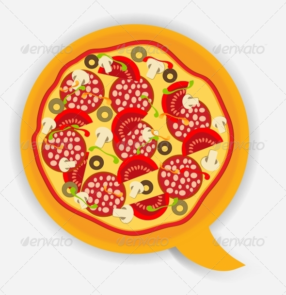 Pizza Speech Bubble. Vector Illustration - Food Objects