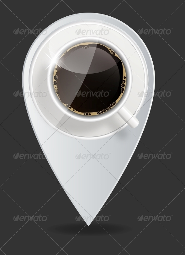 Coffee Map Pointer Vector Illustration - Miscellaneous Vectors