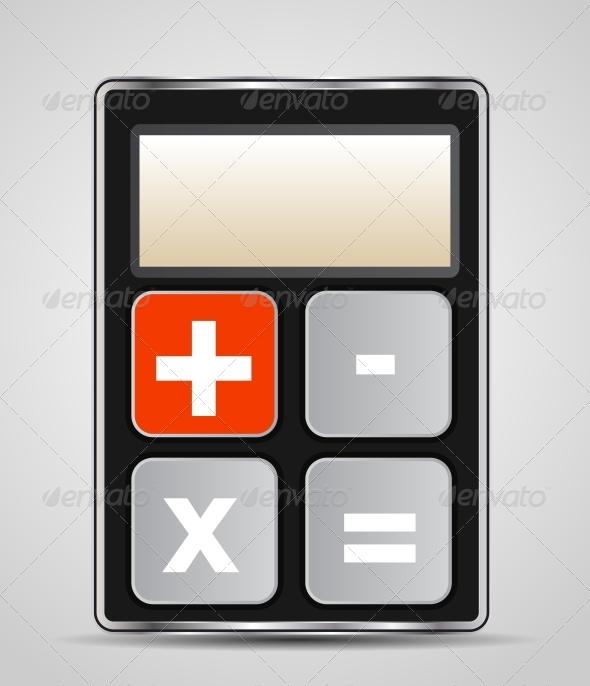 Vector Calculator Icon with Gray Buttons - Miscellaneous Conceptual