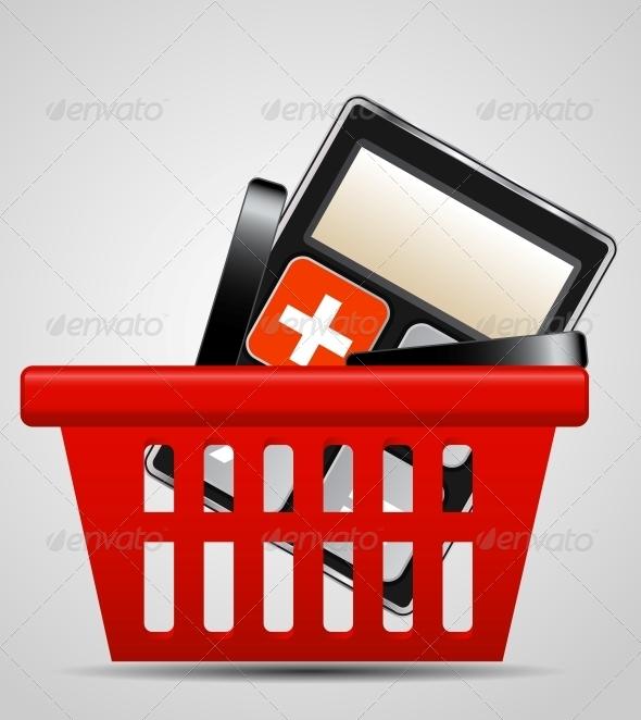 Calculator and Shopping Basket Vector Illustration - Miscellaneous Conceptual