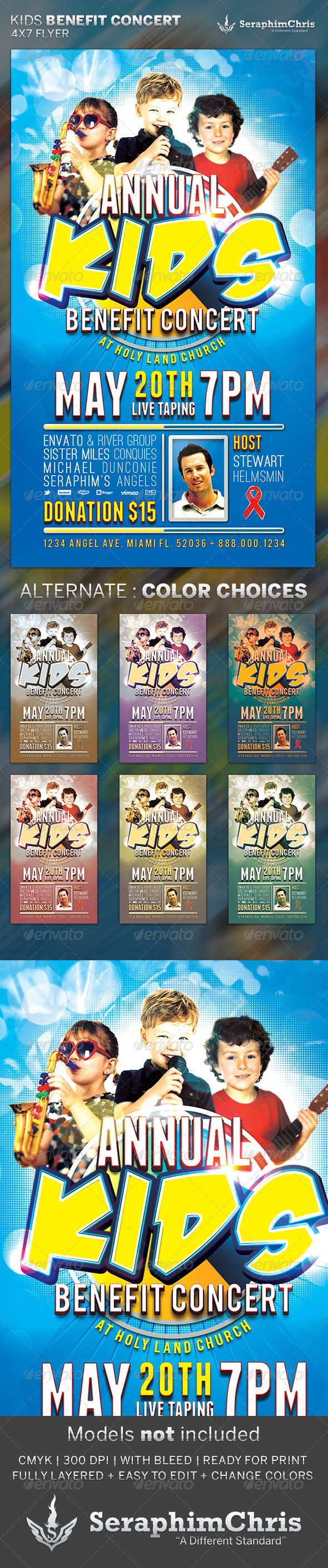 Kids Benefit Concert: Flyer Template - Church Flyers