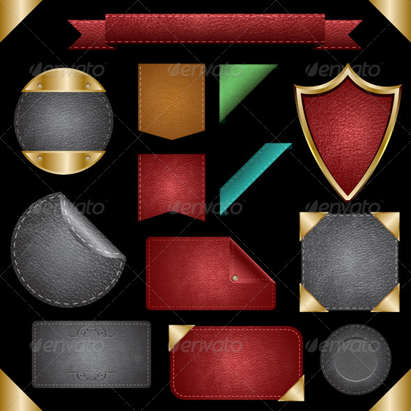 Leather Badges, Cards, Backgrounds & Labels - Web Elements Vectors