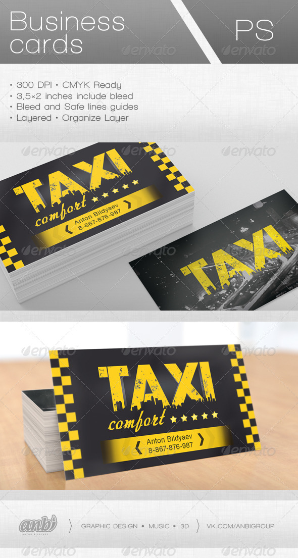 Taxi Comfort Business Card - Industry Specific Business Cards