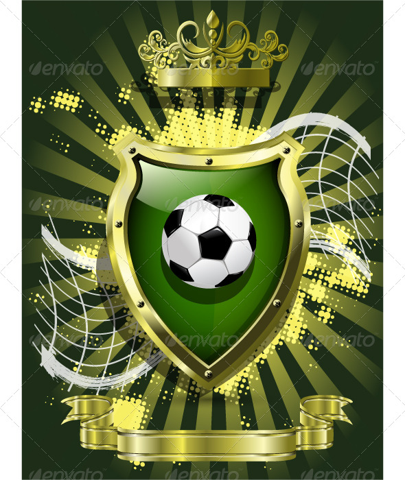 Soccer Ball on Background of the Shield - Sports/Activity Conceptual