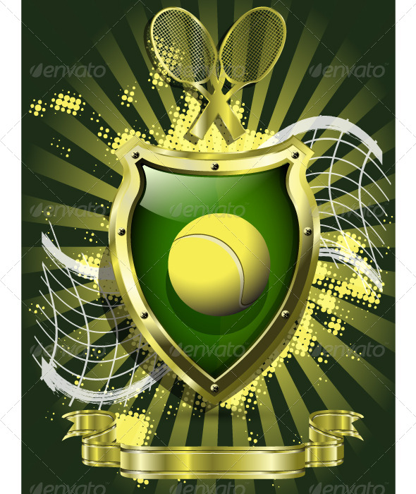Tennis Ball on Background of the Shield - Sports/Activity Conceptual