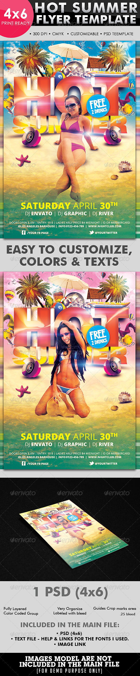 Hot Summer Flyer Template - Clubs & Parties Events