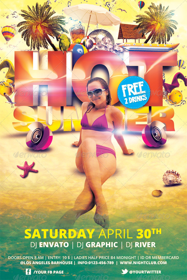 Hot Summer Flyer Template By Hermz  Graphicriver