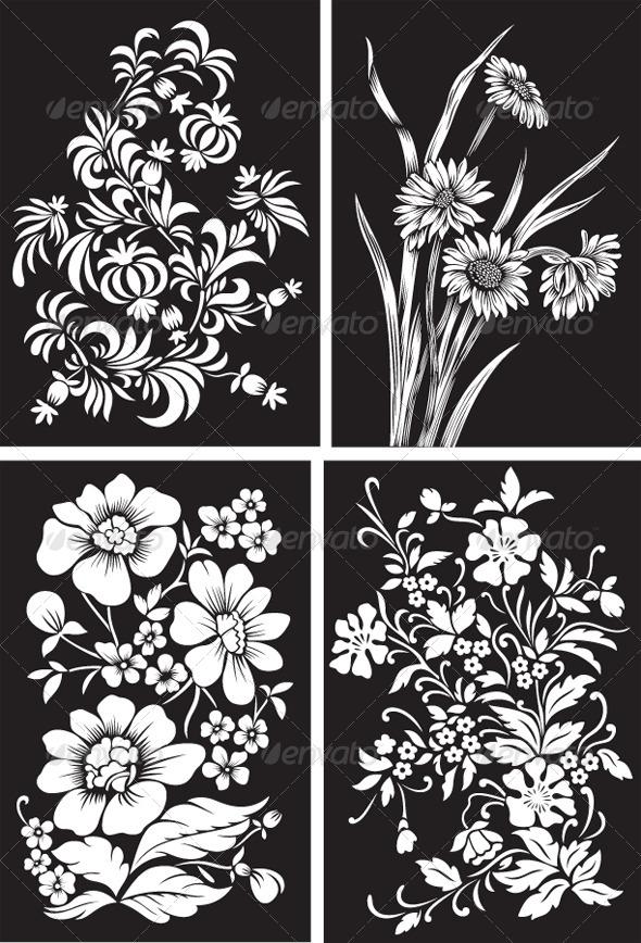 Set of Black Backgrounds with White Flowers - Flourishes / Swirls Decorative
