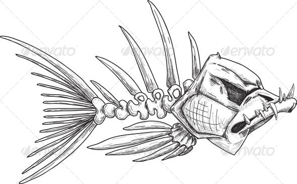 Sketch of Evil Skeleton Fish with Sharp Teeth - Animals Characters