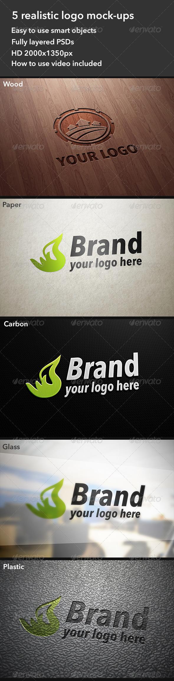 5 Realistic Logo Mockups - Product Mock-Ups Graphics