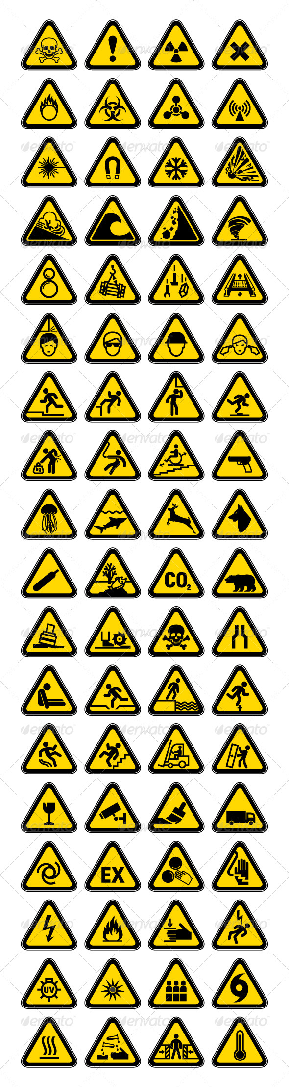 72 Hazard Warning Symbols, Labels Triangular - Vectors