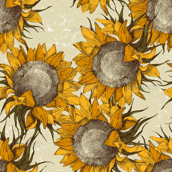 Seamless Ornament with Sunflowers - Flowers & Plants Nature