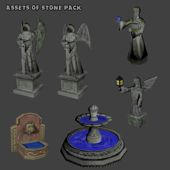 Assets of Stone Pack - 3DOcean Item for Sale