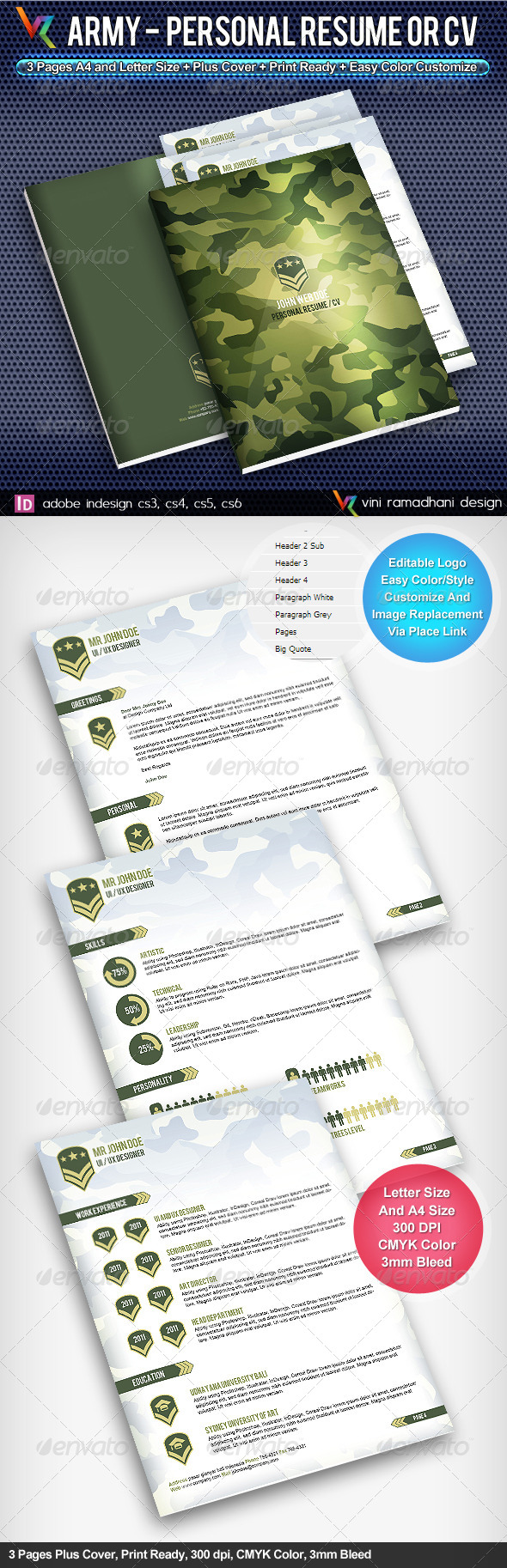 Army Personal Resume Or CV - Resumes Stationery