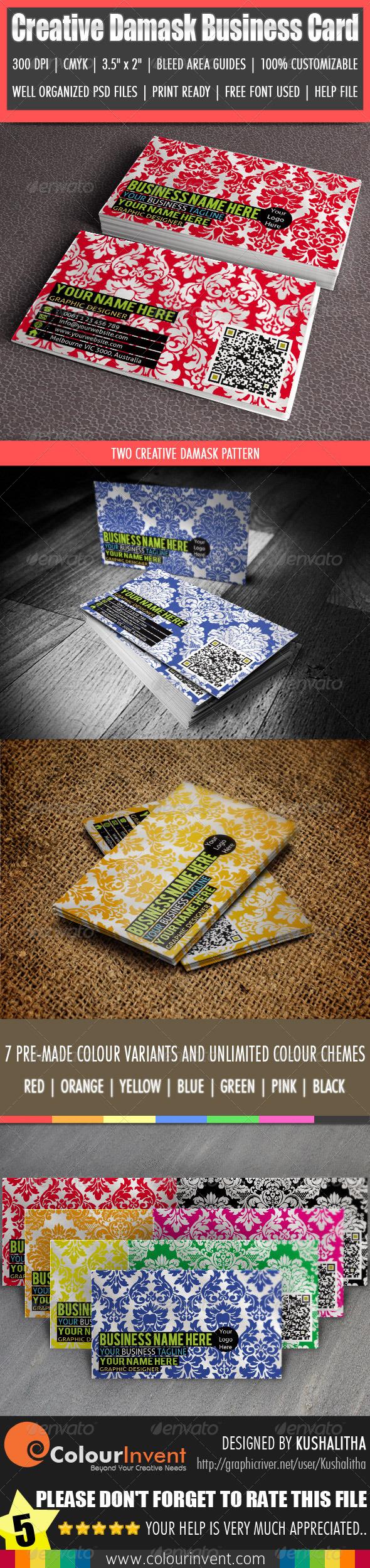 Creative Damask Business Card - Creative Business Cards