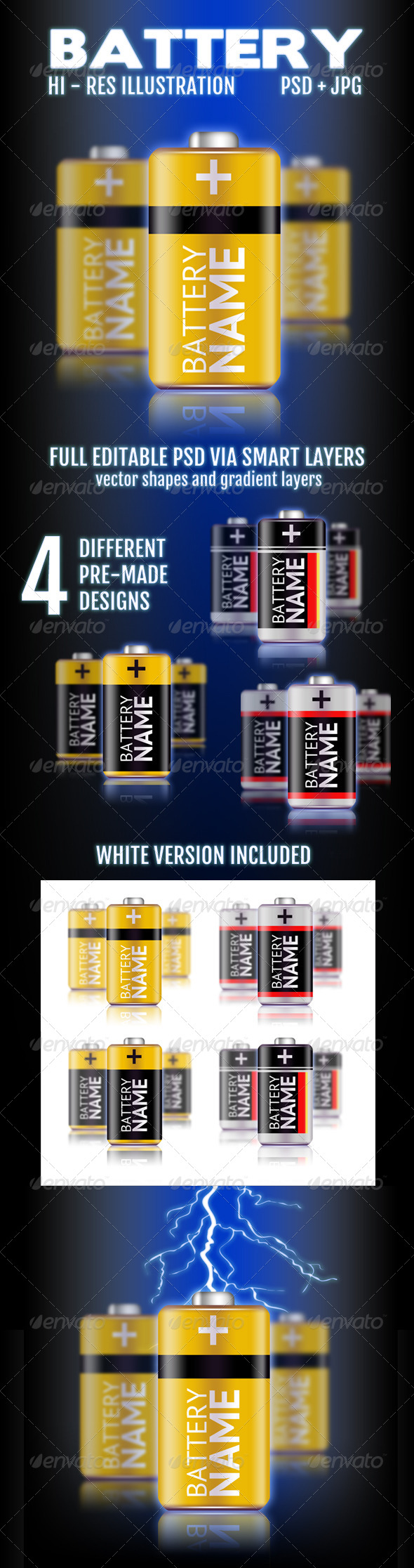 Battery Illustration - Objects Illustrations