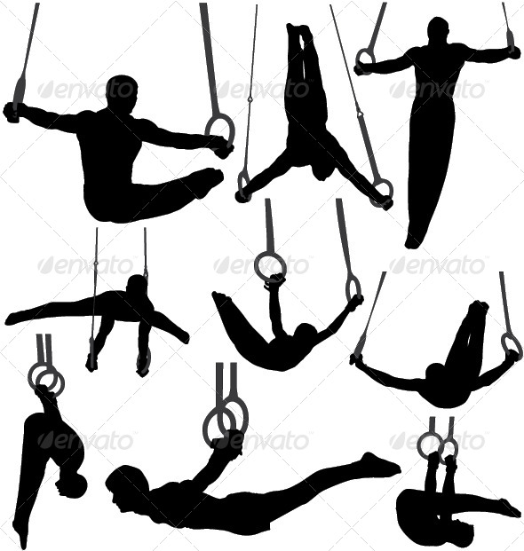 Gymnastics Rings Silhouettes - Sports/Activity Conceptual