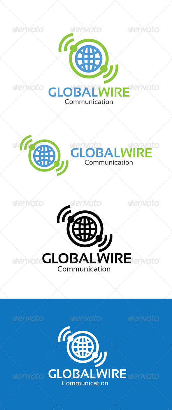 Gobal Wire Communication Logo - Letters Logo Templates