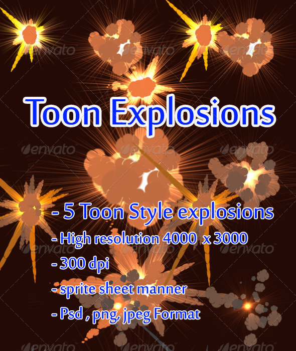 Toon Explosions - Sprites Game Assets