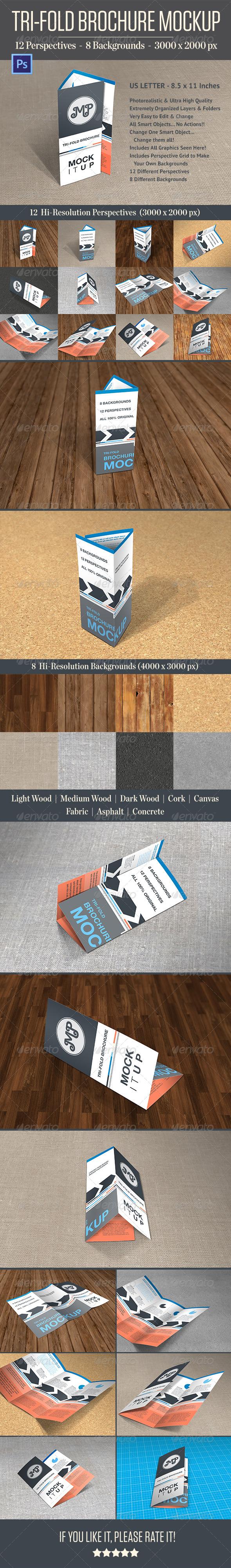 Photorealistic Trifold Brochure Mockup - Print Product Mock-Ups