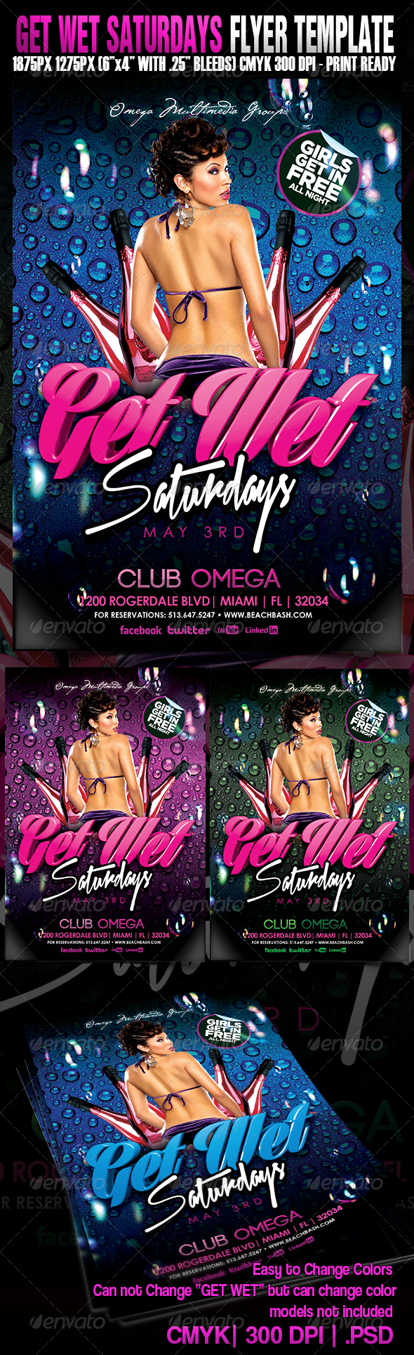 Get Wet Saturdays - Events Flyers