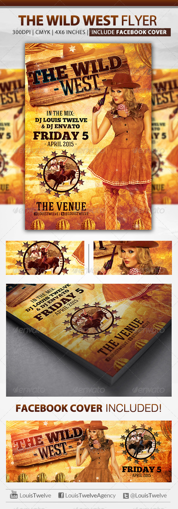 The Wild West | Flyer + Fb Cover - Clubs & Parties Events