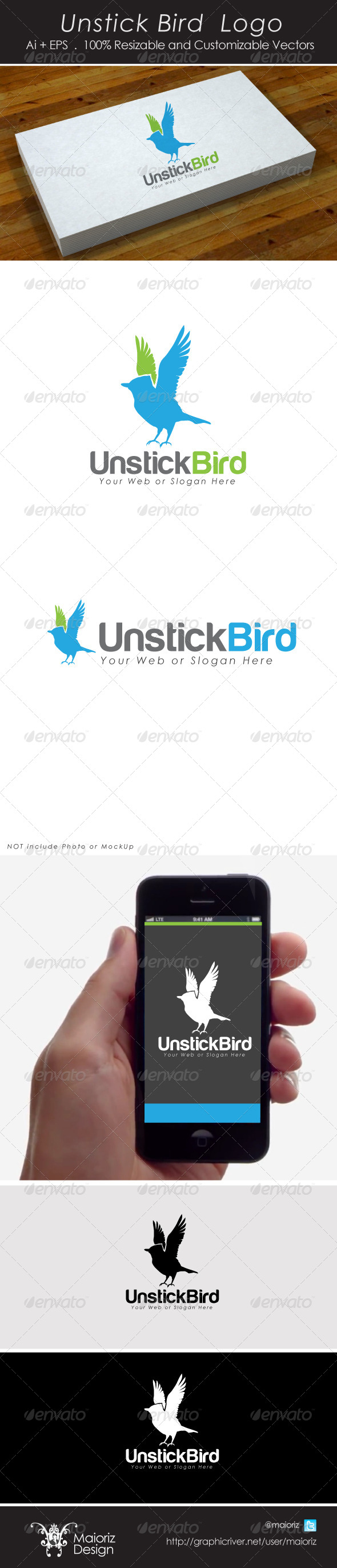 Unstick Bird Logo - Animals Logo Templates