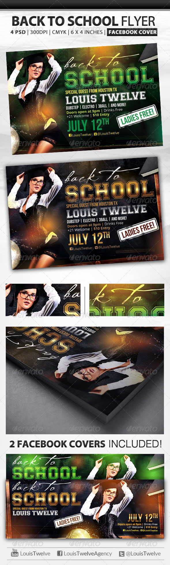 Back to School | Flyer + Fb Cover - Clubs & Parties Events