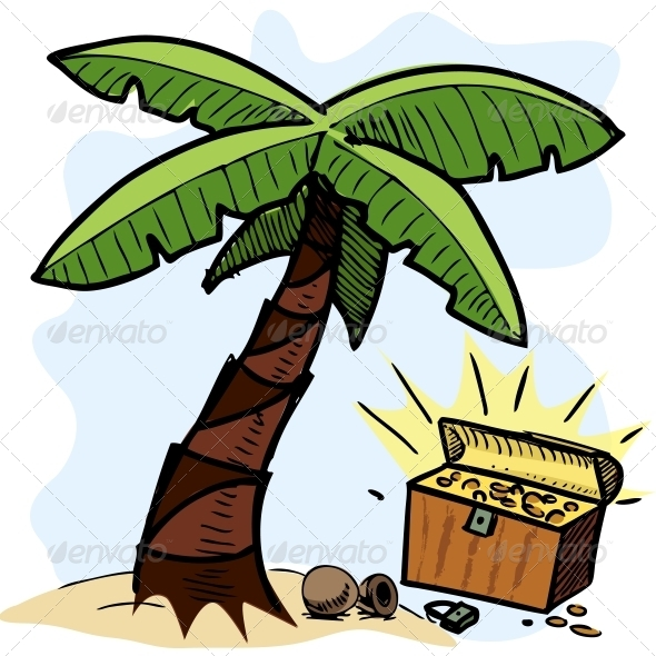 Palm Tree and Pirate Chest on the Seashore - Travel Conceptual