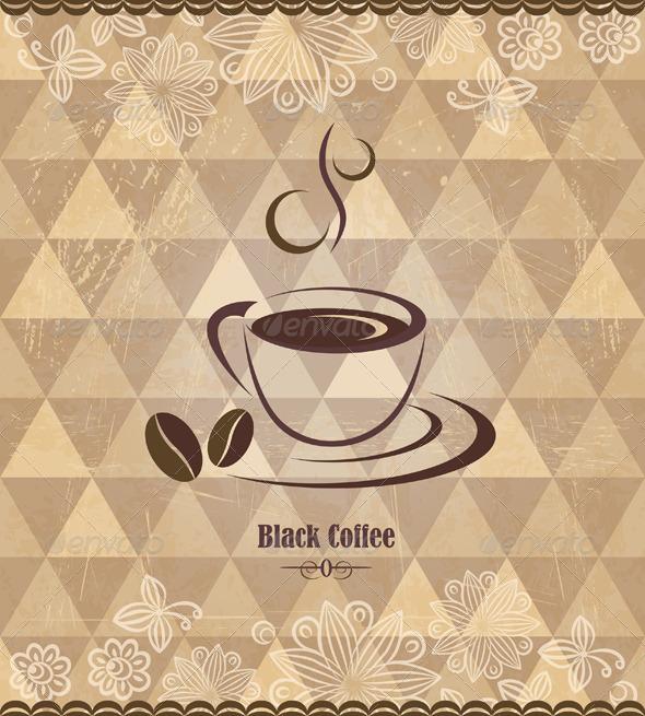 Black Coffee Vintage Pattern - Retro Technology