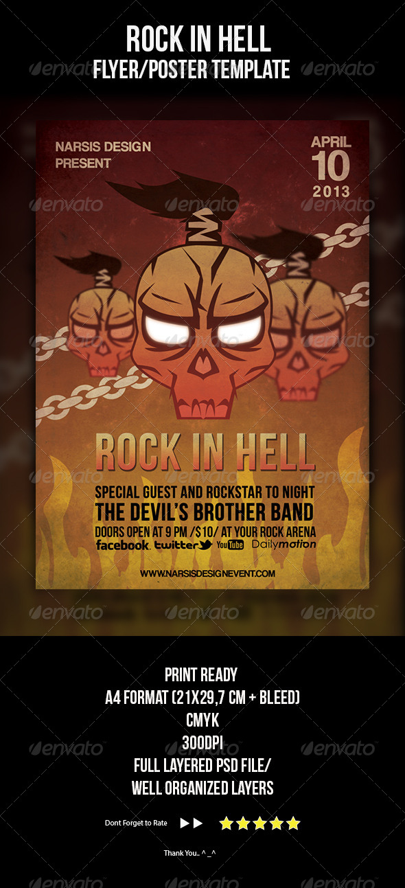 Rock In Hell Flyer Template - Concerts Events