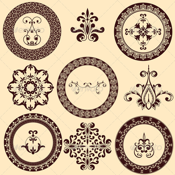 Vector  Floral Retro Frames and Design Elements - Decorative Symbols Decorative