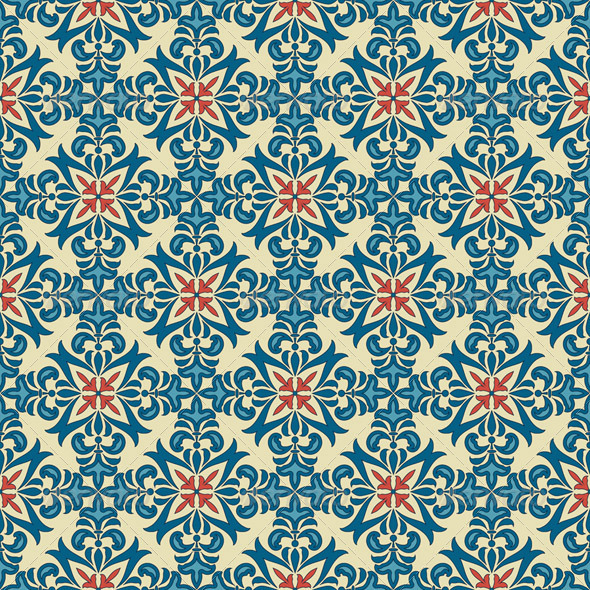 Vector Seamle Vintage Floral  Pattern - Patterns Decorative