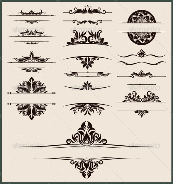 Vintage Element and Border Set - Borders Decorative