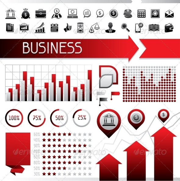 Set of Infographics and Business Icons. - Infographics