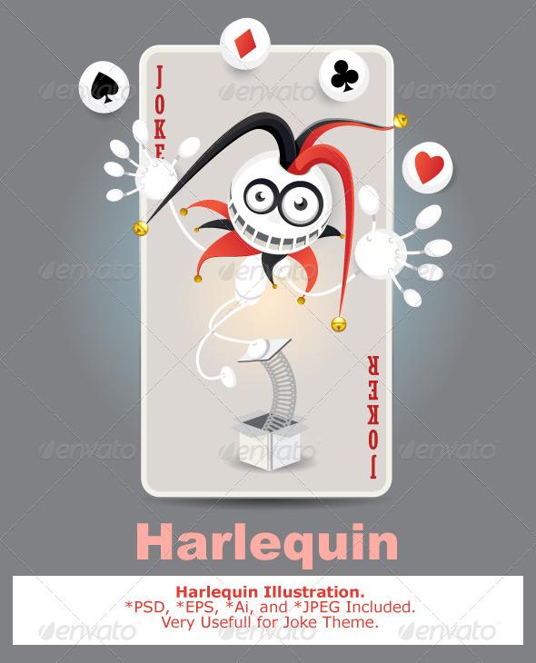 Joker Harlequin Card - Abstract Conceptual