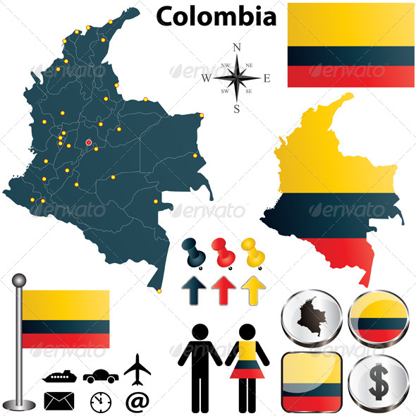 Colombia Map - Travel Conceptual