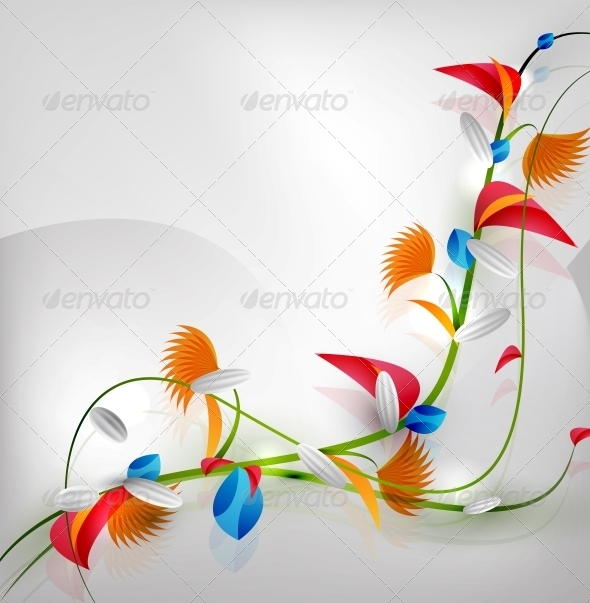 Abstract Colorful Floral Design - Backgrounds Decorative