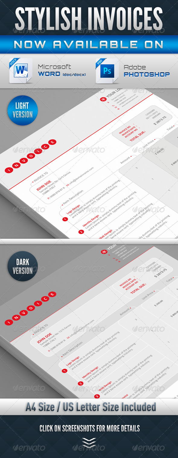 Stylish Invoices PSD & Word Version - Proposals & Invoices Stationery