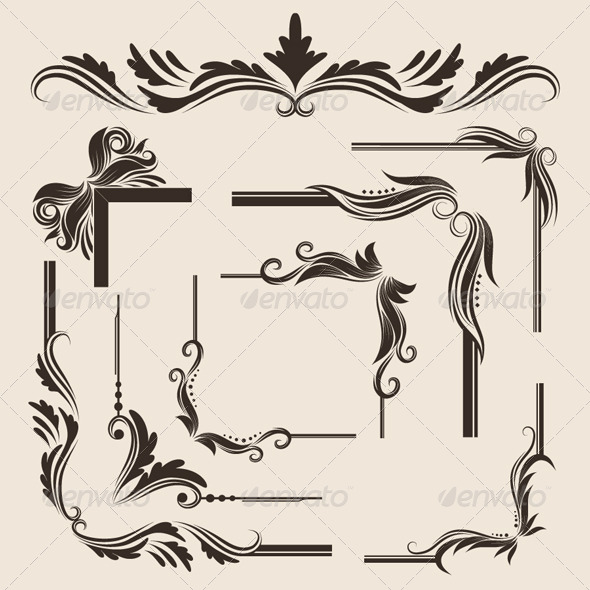 9 Decorative Frame Vector Set - Borders Decorative
